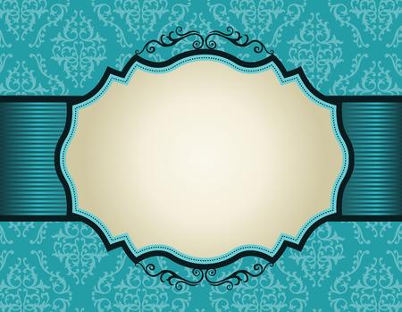 Elegant damastpatroon achtergrond met turkoois lint .. perfect als stijlvolle bruiloft uitnodigingen en andere uitnodiging van de kaarten of aankondigingen Stock Illustratie