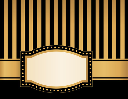 vintage frame: Background with black and gold  brown stripes lights and empty frame