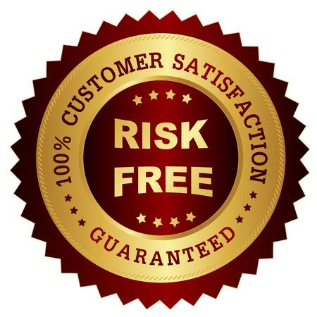 赤と金色のお客様が 100% 満足度保証スタンプシール