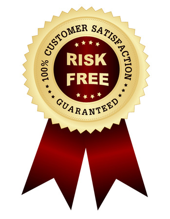 Risk Free: 100% customer satisfaction guaranteed golden seal with risk free text on center,  red  maroon color shiny ribbons.