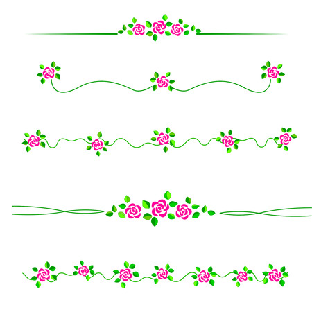 specially: Colorful roses divider  frame set specially for wedding  valentine day related designs Illustration