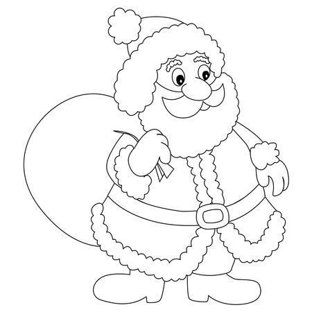 toy sack: L�nea de arte de un pap� noel con el saco del juguete aislado en el fondo blanco para libros para colorear Vectores