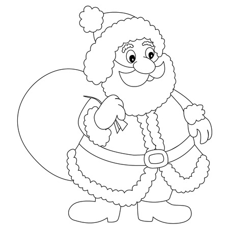 toy sack: Line art of a santaclaus with toy sack isolated on white background for coloring books