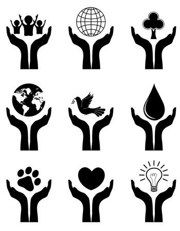 manos abiertas: Abra las manos con diferentes símbolos silueta. que simboliza la protección de la tierra, los animales, los niños, los bosques, la naturaleza, el agua y la energía