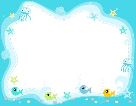 海洋生物、かわいい魚、くらげ、星の魚、貝殻の図と海洋生物の国境