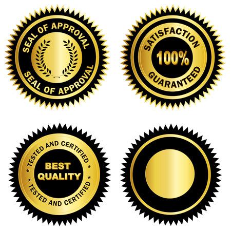 Geïsoleerde goud en zwart  zegel voor certificaten. waaronder tevredenheid 100% gegarandeerd, Zegel van goedkeuring, getest en gecertificeerd en blanco kaart. Stock Illustratie