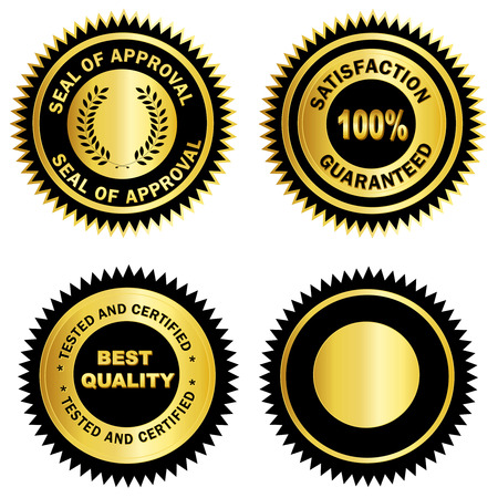 Isolated Gold and black stamp  seal for certificates. including satisfaction 100% guaranteed, Seal of approval, Tested and certified and blank one. Ilustração