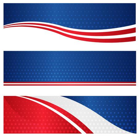 web header: 04 de julio EE.UU. colecci�n patri�tica Web Cabecera  bandera en el fondo blanco Vectores