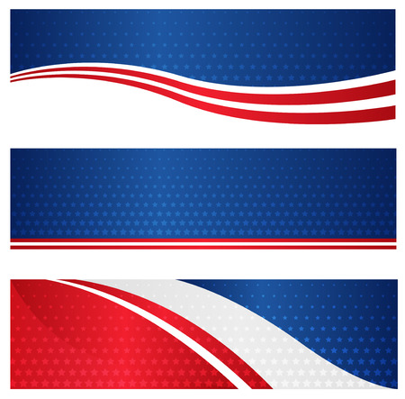 4th of july USA patriotic web header / banner collection on white background Vectores