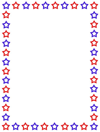 Blue and red stars patriotic frame on white background Vector