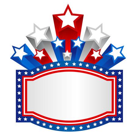 Three Dimensional Ster van de VS en de strepen patriottisch ontwerp met frame illustratie Stock Illustratie