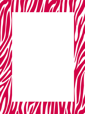 clip arts: Red zebra  leopard stripes border  frame