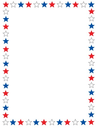Red blue and white stars 4th of july border  frame