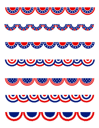 patriotic usa: USA 4th of july Patriotic , National day border  frames  bunting collection for USA Illustration