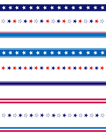 blue stars: 4th of july page divider  line collection on white