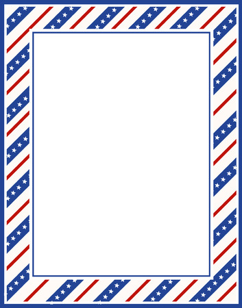 Blue and red patriotic stars and stripes page  border / frame design for 4th of july Vectores