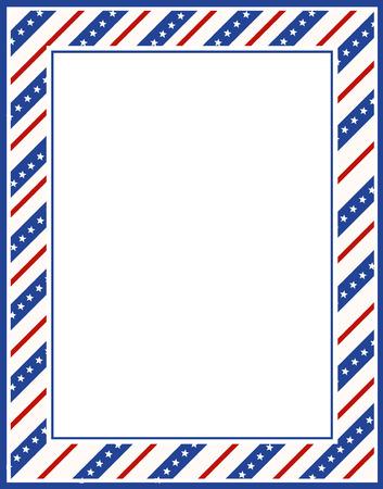 Blauwe en rode patriottische sterren en strepen pagina grens  frame ontwerp voor 4 juli