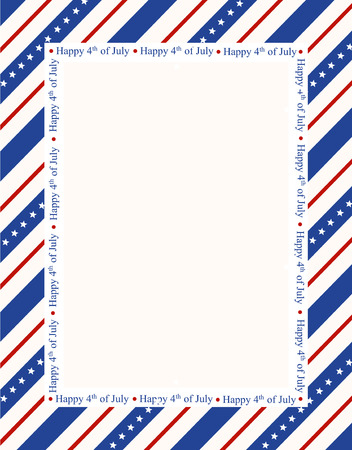 patriotic border: Blue and red patriotic stars and stripes page  border  frame design with happy 4th of july text