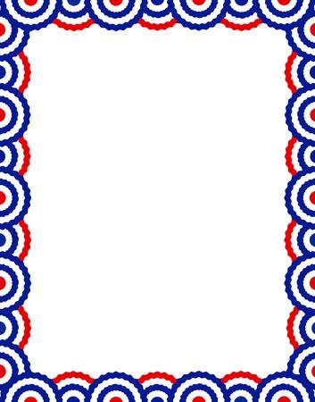 Blauwe en rode USA patriottische gorzen pagina grens  frame design collectie