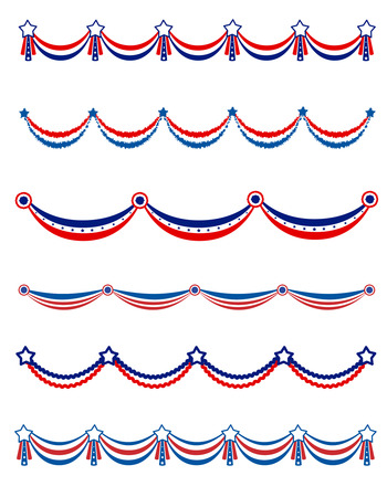 Patriotic , National day border / frames / bunting collection for USA Vectores