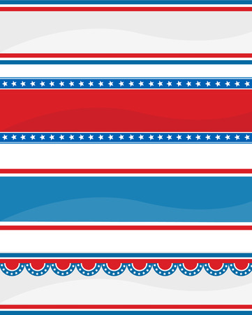 Collection of stars ans stripes USA  4 th of July web header  banners on white Vector