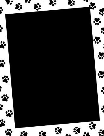 huellas de perro: Impresiones de la pata del marco y el espacio negro vacío Vectores