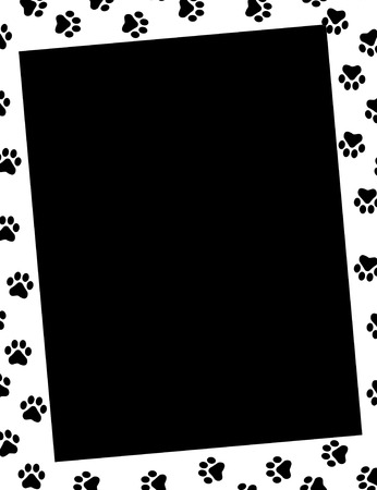 dog track: Paw prints frame and empty black space