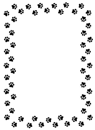 Dog paw prints border on white background