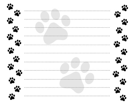 Black and white paw prints border / frame on a dotted line background Vectores
