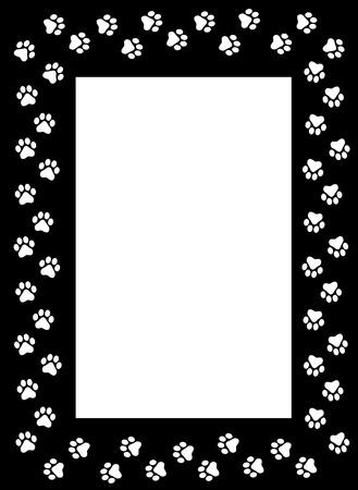 White dog paw prints on black background frame / border Illustration