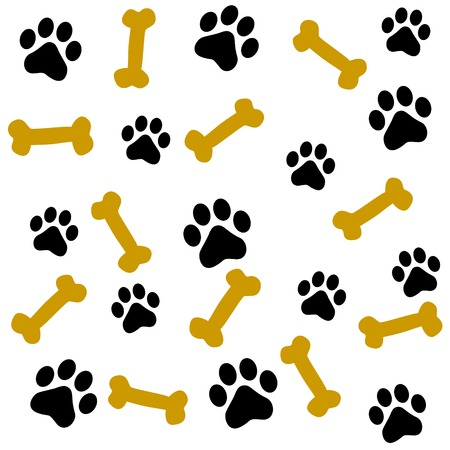dog track: Dog paw prints and bone seamless pattern