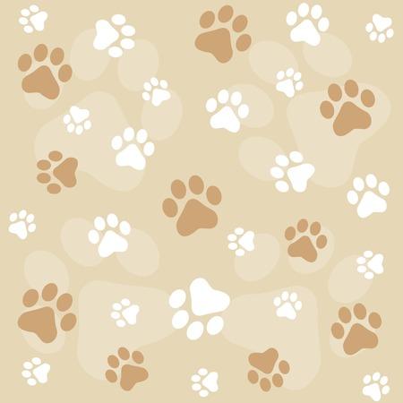 犬の足が茶色足跡とシームレスなパターンを印刷します。