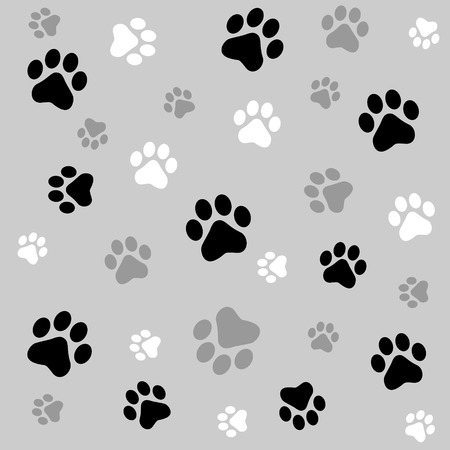 Animal paw prints seamless background with black and ash paw prints Ilustração
