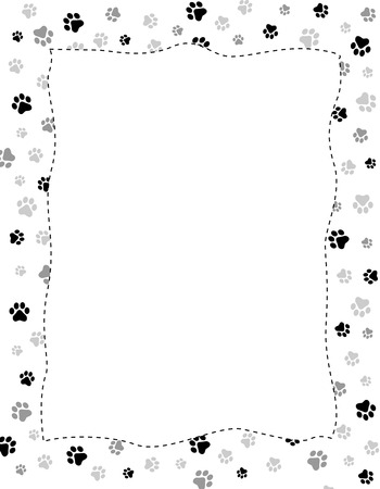 Black and gray paw prints pattern frame with empty white space on center Illustration
