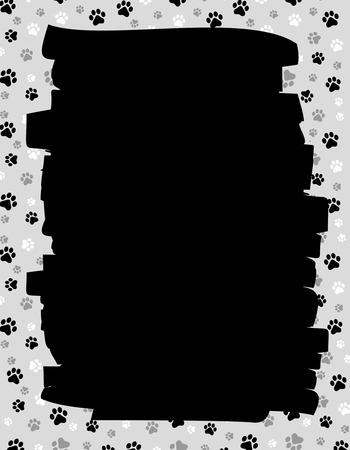 huellas de perro: Perro pata de impresión bprder  marco