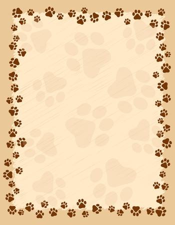 犬足のプリント ボーダー茶色グランジ背景にフレーム  イラスト・ベクター素材