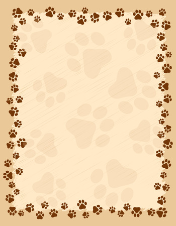 Dog paw prints border  frame on brown grunge background