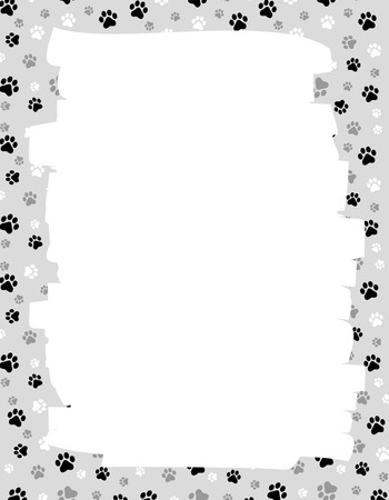 Cute dog / cat paw prints border / frame with empty white space onb center Vectores