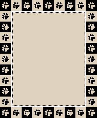 huellas de perro: Amantes de las mascotas  perro  gato página amante Marco lindo frontera en el fondo whte con espacio vacío