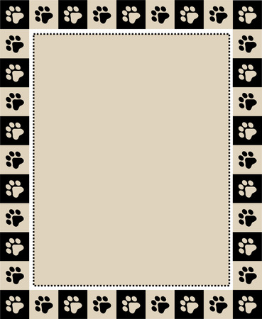 paws: Cute pet lovers dog  cat lover page border frame on whte background with empty space
