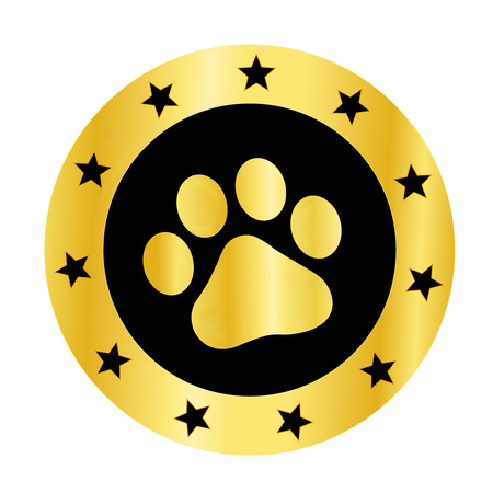 trot: Cute pets [dogs and cats] paw print golden logo  medal isolated on white background Illustration