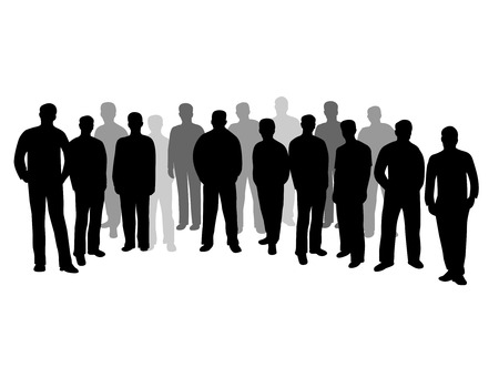 partying: Group of business people  businessmen silhouette isolated on white background