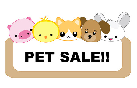 Cute pets with sale message board. specially for pet  shops and animal clinics isolated on white background Vector