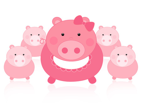 oink: Cute pink pig mom and its kids illustration isolated on white background