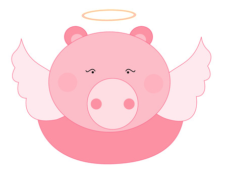 Cute flying piggy angel illustration isolated on white Vector