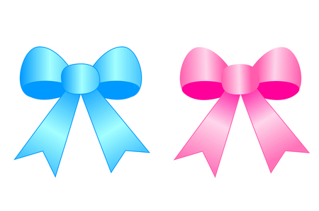 pink satin: Blue and pink satin ribbon bows isolated on white background clipart. specially for new born baby themed designs Illustration