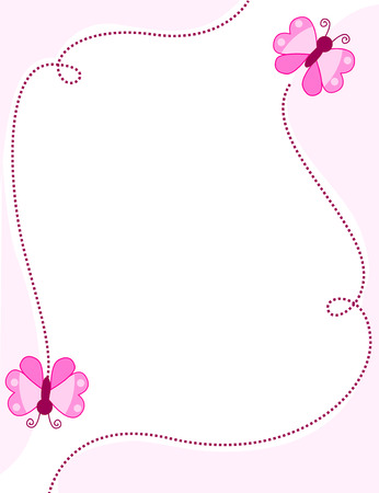Cute pink butterfly border frame with pink butterflies