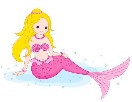 Illustration / clipart of a cute little pink mermaid sitting on water isolated on white background.