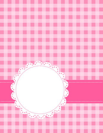 gingham pattern: Cute pink gingham pattern with a lace frame  border Illustration