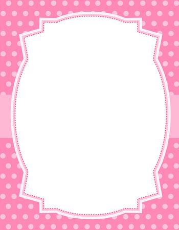 lazo rosa: Fondo rosado de los lunares con el marco. Y cinta especialmente tarjetas de felicitación de la ocasión y invitaciones
